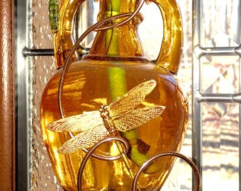 Glass Amphora Hanging Rooting Vase Bud Vase Dragonfly Customize Color Wire