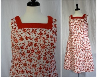 Vintage Red on White All Over Floral Poly Sporty Sun Dress | Mod 1960s | Womens Lg XL |  Volup Plus Size 36 Waist | Summer Day Dresses