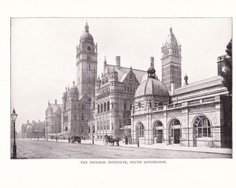 1900 Architecture Photograph - Imperial Institute South Kensington England - Antique Vintage Design Art Photo for Framing 100 Years Old