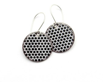 Polka Dot Earrings - Black and White Earrings - Black and White Polka Dots