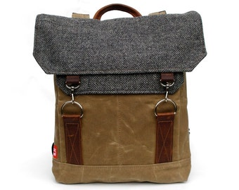 Traveller Waxed Canvas Backpack / Grey Herringbone Recycled Wool & Oiled Leather / Made in USA