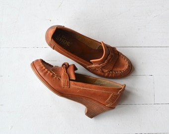 Hoxton House loafer wedges | vintage 1970s wedges | leather 70s wedge loafers 7