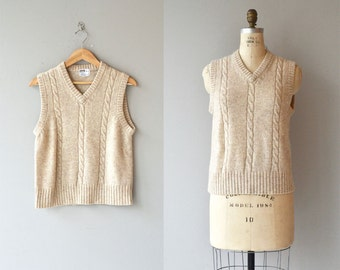 Oatmeal cable vest | wool sweater vest | cable knit sweater