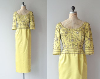 Last Caliph dress | vintage 1960s beaded dress | silk 60s formal dress