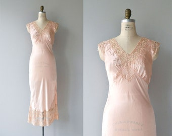 Bisou silk nightgown | vintage 1930s silk nightgown | embroidered 30s silk bias cut lingerie