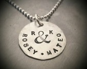 """Hand Stamped Necklace or Keyring - Personalized Sterling Silver 3/4"""" Disc - Mommy Necklace - New Baby Gift - Gift for Grads"""