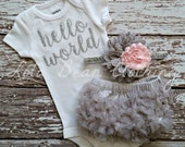 Baby Girl Take Home Outfit Newborn Baby Girl Hello World Bodysuit Grey Bloomers Pink & Grey Headband Set