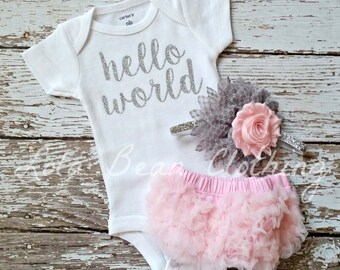 Baby Girl Take Home Outfit Newborn Baby Girl Hello World Bodysuit Pink Bloomers Pink & Grey Headband Set