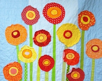 "Poppy baby quilt -poppies baby/ wall art quilt- ""Poppy Garden"" red, yellow and orange poppies on light turquoise blue READY TO SHIP"