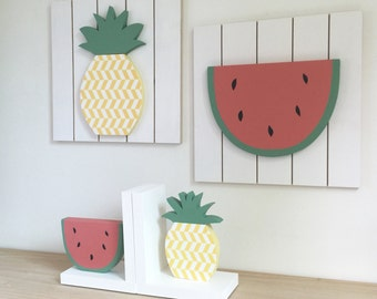 Fruit Decor Set, Fruit Bookends, Tutti Frutti Nursery, Summer Decor, Children's Bookends, Pineapple, Watermelon, Fruit