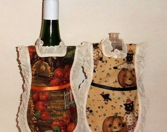Wine Bottle Apron, Handmade, Autumn Fall, Bottle Gift Wrap, Mini Apron, Wine Bottle Dress, Eyelet Lace