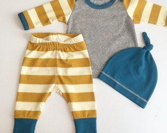 Newborn Baby Boy Coming Home Outfit, Boys Clothing, Pants Shirt with Matching Hat, Mustard, Stripes