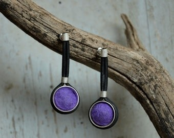 Unique Earrings,Felt Leather and Sterling Silver earrings,  hand crafted, Felt and silver earrings,Dangle leather Earrings, for Pierced ears