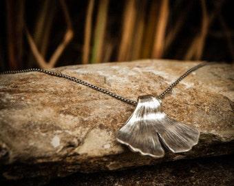 Gingko Necklace, Gingko Pendant, Ginkgo Leaf Necklace, Ginkgo Necklace, Silver Ginkgo Leaf Necklace