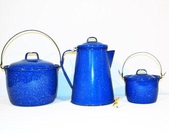 Vintage Enamelware Cobalt Blue Speckled