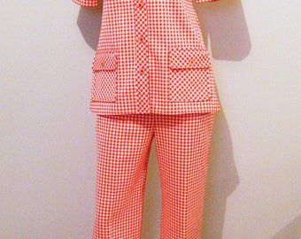 Vintage Day Suit 1970's Red Tangerine Gingham