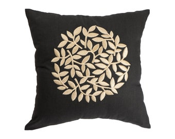 Black Beige Pillow Cover, Modern Contemporary Pillow, Black Linen Beige Floral Embroidery, Flower Decorative throw pillow, Floral Bedding