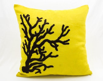 Coral Pillow Cover, Decorative Pillow Cover,Throw Pillow Cover, Yellow Linen Dark Brown Coral, Nautical Pillow Case, Couch Pillow, Cushions