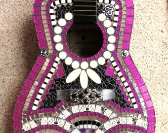 Hot Pink Fuschia and Black Custom Mosaic Guitar One of a Kind Art/Mosaic Art/Home Decor//Wall Decor//Mixed Media Art