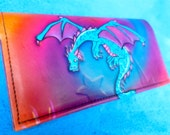 Dragon Checkbook Cover, embossed  Leather Case in spiral airbrushed Turquoise With  Spirals & Stars. Handmade Handcrafted