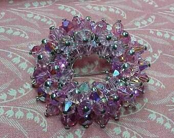 Vintage Pink Crystal Wired Circle Brooch pin