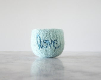 "Felt Bowl - Soft Ring Dish - Air Plant Planter - Pale Mint Wool with Turquoise ""love"" Embroidery - Handmade by the Felterie - Spring Gift"