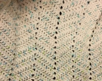 Blue and White Baby Afghan, Lap Blanket
