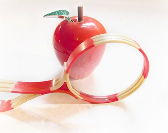 Vintage sewing collectibles Red Apple shaped retractable tape measure 1960s , Celluloid Handled Magnifying Glass Red and Cream 1930s RARE !