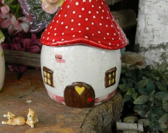 Fairy Garden House or Gnome  House  Ceramic  Red amanita muscari Fly -   Container for storage fantasy birthday centerpiece