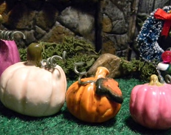 Ceramic Pumpkin Miniature w/ curly q  Fairytale Funkins   Hand Sculpted unique squash
