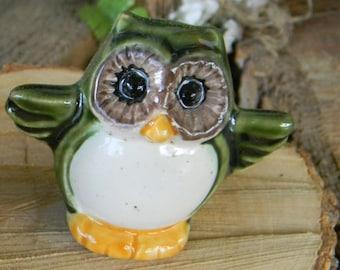 Ceramic Owl Miniature Terrarium,  Green   Pottery  .  Barn Owl   .... Glazed Glass Tiny 1.5 inch high