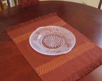 Handwoven Table Runner Hand Woven Brown Placemat Thanksgiving Buffet Scarf Hand Woven Coffee Table Runner Brown and Bronze Table Runner