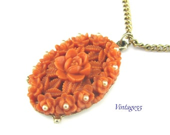 Necklace Celluloid Coral Rose Pearl Pendant