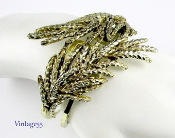 Bracelet Clamper Gold Tone wheat