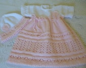 Knitted  Baby Clothing. Newborn Dress and Bonnet Set.  Coming Home Set. My First Dress.  0 to 3 Months Dress and Bonnet