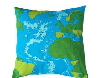 Map Pillow Cover, Blue Green Premier Prints Maps Surfside / Macon - World Map, White , Choose Size -  16x16, 18x18, 20x20