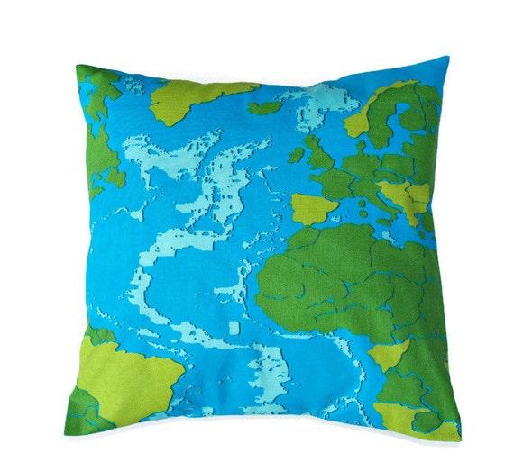 Map Pillow Cover Blue Green Premier Prints Maps Surfside