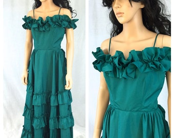Vintage Emerald Green Gown. Ruffled Off the Shoulder Dress. Long Dress. X-Small. Small. Bustle Skirt. Formal. Evening Dress. Wedding. Teal.