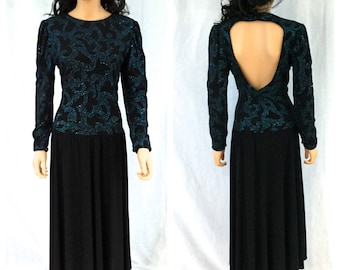 Vintage Black Open Back Dress. Long Sleeve. Teal Green Glitter Design. Size 10. Ricki Lang for Nuit. 1980s Dress. Drop Waist. Evening Formal