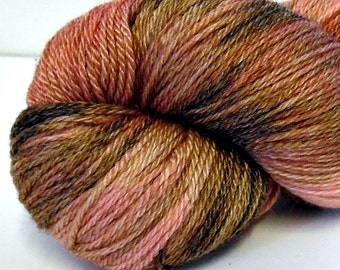 Strawberry Chocolate Trifle - Semi-Variegated - Hand Dyed Merino and Tencel Sock Yarn - Glisten