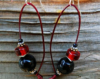 Red Glass Earrings with Copper and Sterling Silver