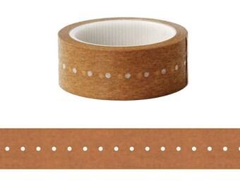 White Dots on Kraft Masking Tape / Washi Tape / Deco Tape - 15mm x 6m long