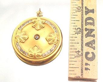 HUGE Antique Photo Locket Art Nouveau Brass Rhinestones Engraved