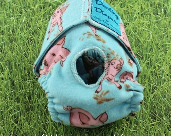 Dog Diaper, flannel cloth diaper for small dogs, washable, reusable, eco-friendly, diaper for female dogs, Pigs on Blue