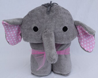 Elephant Hooded Towel - Pink Polka Dot Ears - Great birthday or baby shower gift