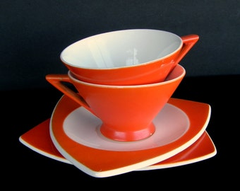 Atomic Art Deco Cups & Saucers: Set of 2 Salem Streamline/Tricorne in Mandarin Orange - Priced by Condition