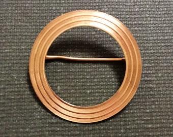 Solid 14k Gold Circle Brooch