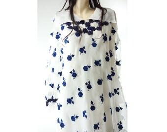 Castillo 60s Dress, 1960s Vintage Dress, 60s Designer Dress, Antonio del Castillo, Couturier Silk Dress, 1960s Tent Dress, 60s Mini Dress, m