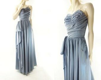 1940s Prom Dress, Vintage 40s Dress, Vintage Prom Dress, Silk Taffeta Dress, Powder Blue 40s Dress, Sequin 40s Dress, Starlet Blue Dress, s