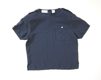 90s Navy Blue Blouse Boxy Rayon Crop Top Vintage White Dots Loose Fit Blouse Preppy Minimal Shirt Vintage 1990s Prep School Top DELLS SMALL